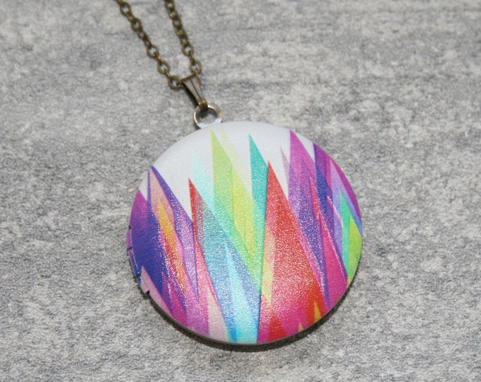 Geometric Locket Necklace, Triangles Necklace, Geometry Jewelry