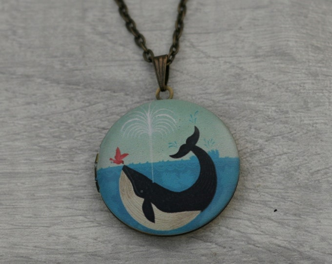 Whale Locket Necklace, Killer Whale Necklace, Sealife Jewelry