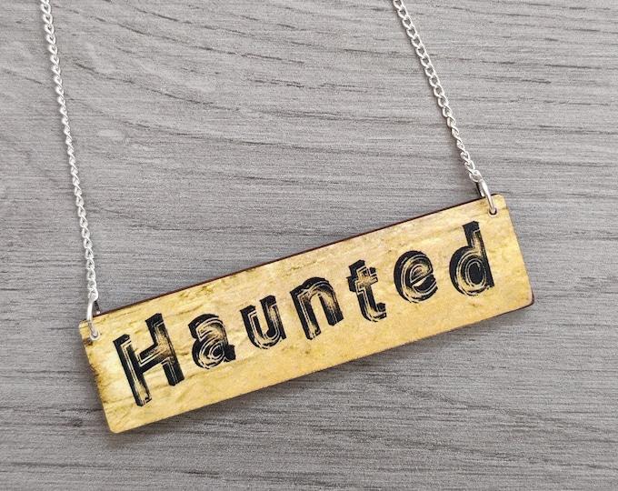 Halloween Haunted Necklace, Wood Jewelry