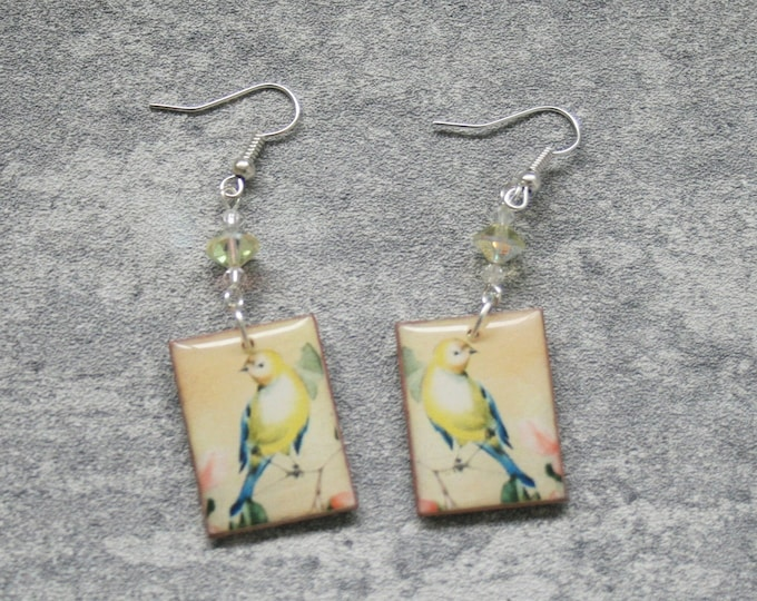 Yellow Bird Statement Earrings, Animal Jewelry