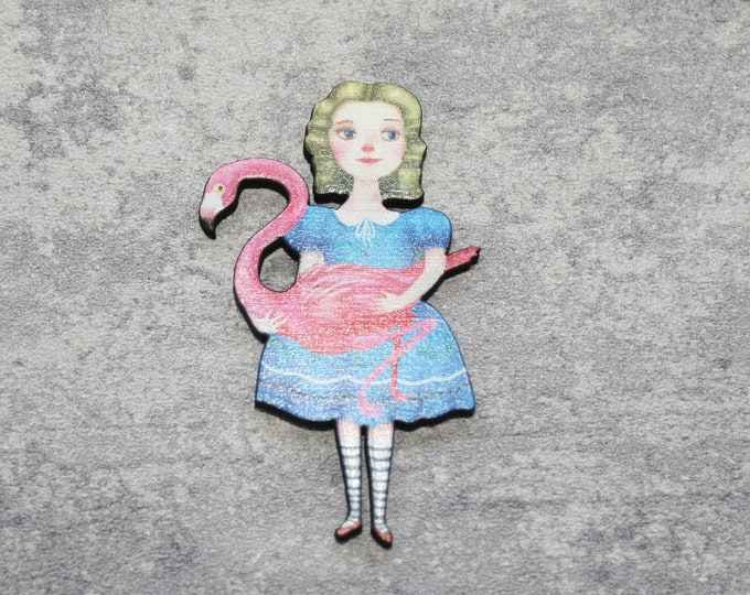 Alice & Flamingo Brooch, Alice in Wonderland Brooch