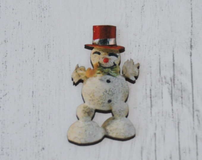 Snowman Brooch, Vintage Illustration, Wood Jewelry, Christmas Brooch, Wood Jewelry
