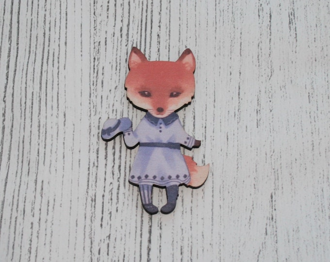 Cute Fox Brooch, Fox Illustration, Wood Jewelry, Animal Pin Badge
