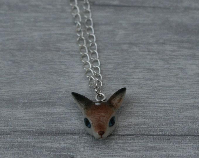 Porcelain Deer Necklace, Animal Necklace, Doe Necklace