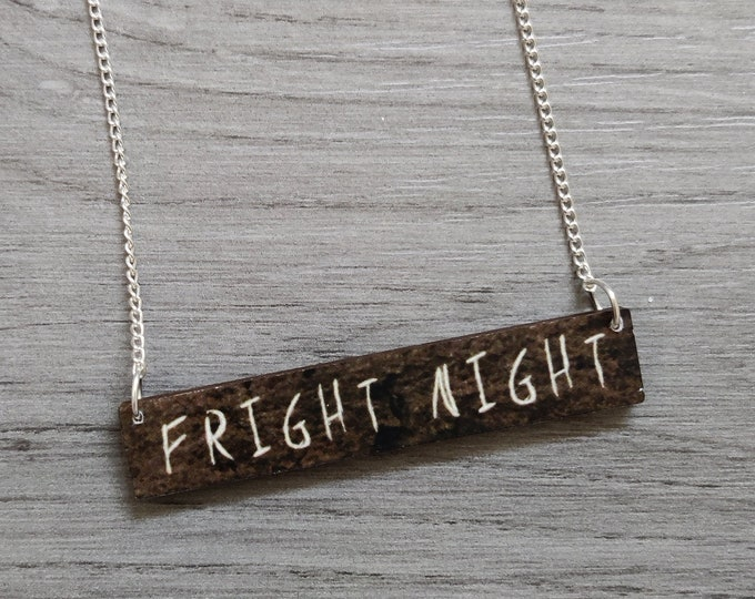 Halloween Fright Night Necklace, Wood Jewelry
