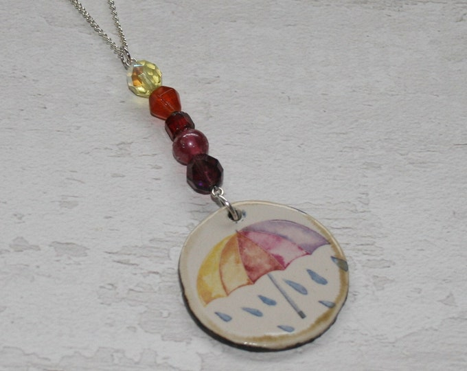 Rainbow Umbrella Necklace, Nature Jewellery, Weather Necklace