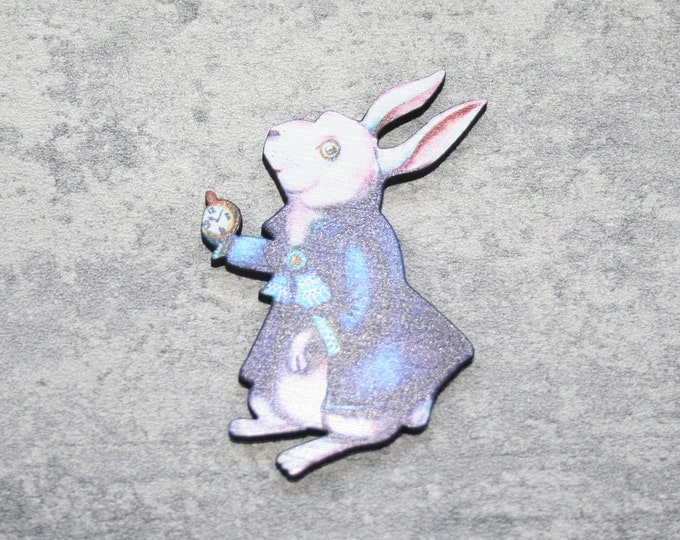 White Rabbit Brooch, Alice in Wonderland Brooch, Wood Jewelry