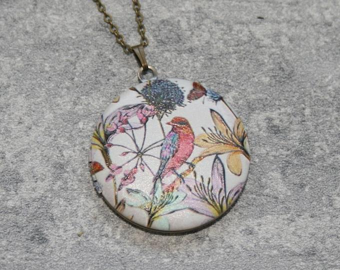 Tree Locket Necklace, Woodland Forest Necklace, Bird Tree Necklace, Birds Locket