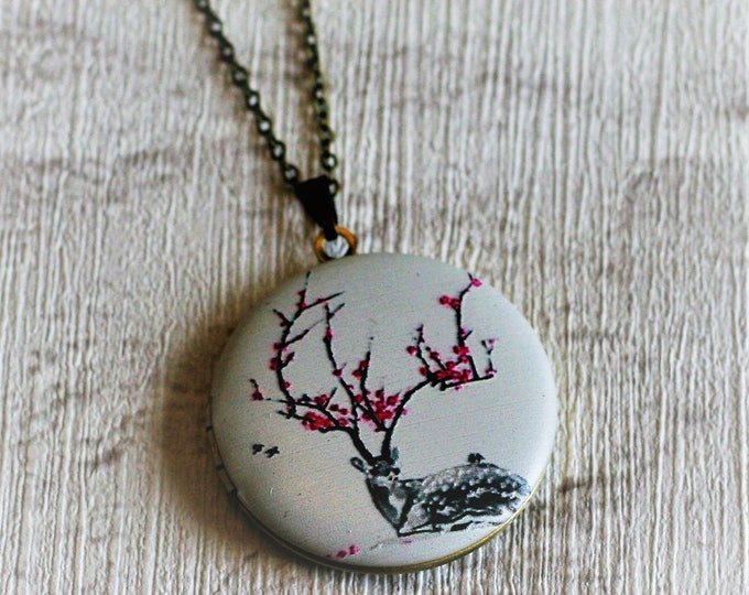 Deer Locket Necklace, Stag Necklace, Woodland Jewelry, Animal Necklace