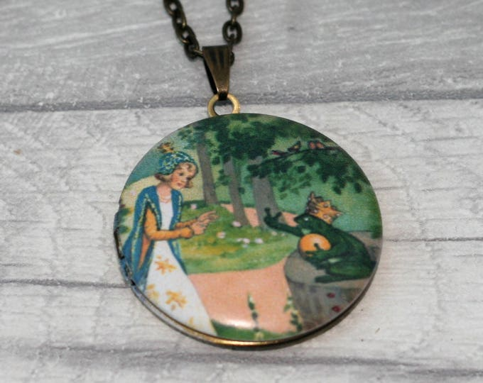 Princess and the Frog Locket Necklace, Frog Necklace, Princess Pendant, Fairy Tale Jewelry