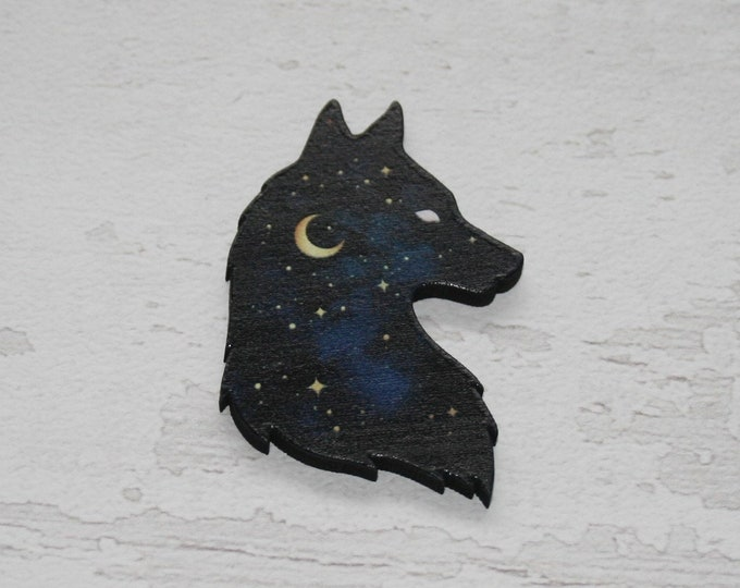 Wolf Brooch, Woodland Wolf Illustration, Wood Jewelry, Animal Brooch