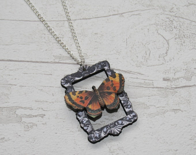 OOAK Orange Butterfly Necklace, Wooden Butterfly, Illustration Pendant, Animal Necklace, Wood Jewelry