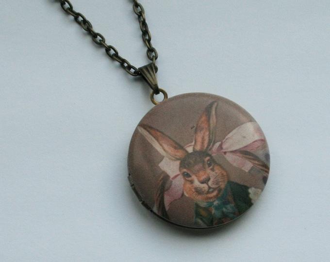Rabbit Locket Necklace, Bunny Rabbit Necklace, Animal Jewelry