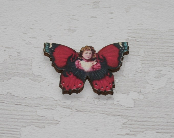 Red Butterfly Fairy Brooch, Wood Accessory, Badge Illustration Jewelry, Animal Brooch, Woodland, Wood Jewelry