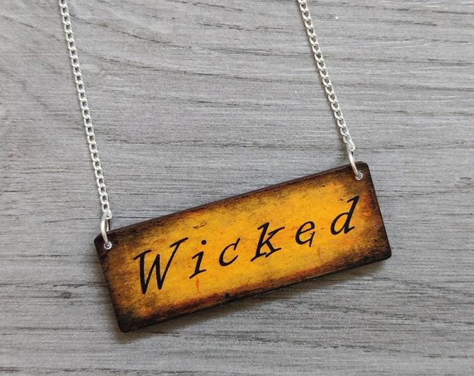 Halloween Wicked Necklace, Wood Jewelry
