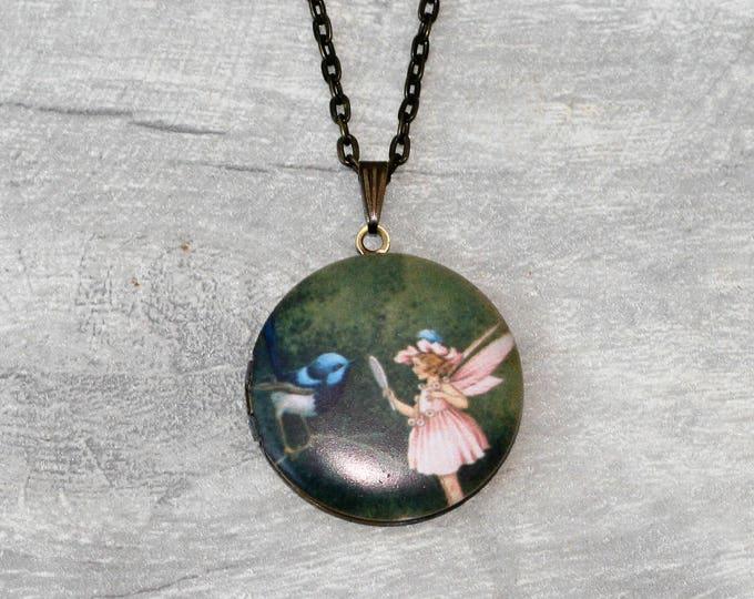Bird and Fairy Locket Necklace, Bird Necklace, Bird Pendant, Pink Fairy Necklace
