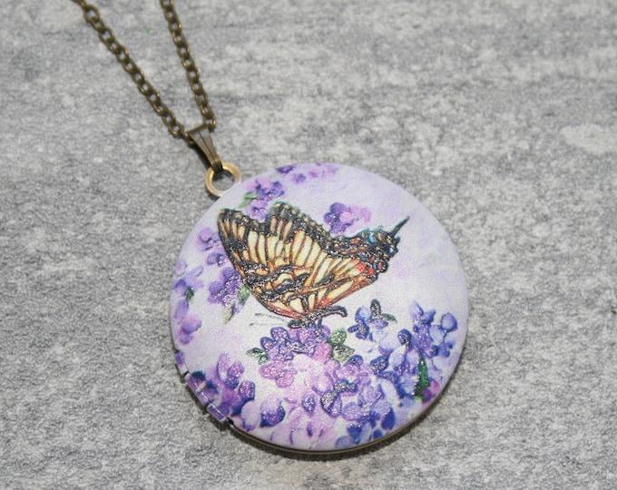 Butterfly Locket Necklace, Blue Butterfly Necklace, Animal Jewelry