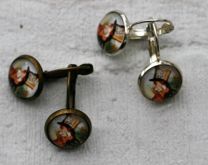 Mad Hatter Earrings, Mad Hatter Illustration, Dangle Earrings, Alice In Wonderland