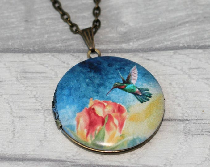 Hummingbird Locket Necklace, Bird Necklace, Bird Pendant, Pink Blossom Necklace