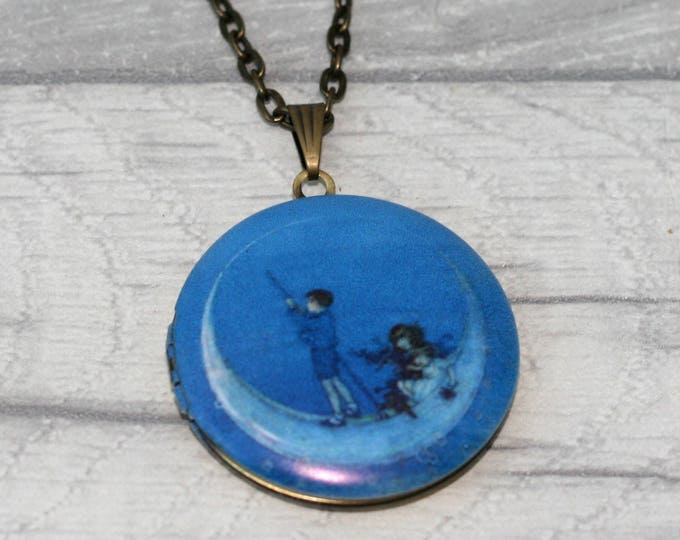 Blue Moon and Children Locket Necklace
