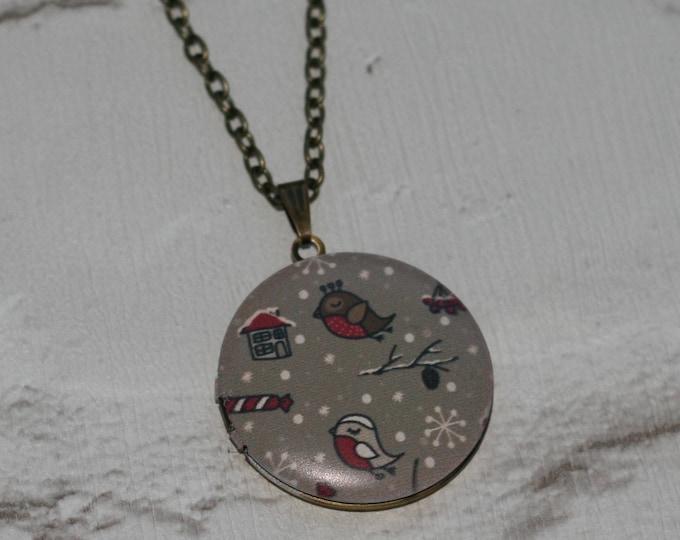 Christmas Locket Necklace, Christmas Tree, Robin, Snow