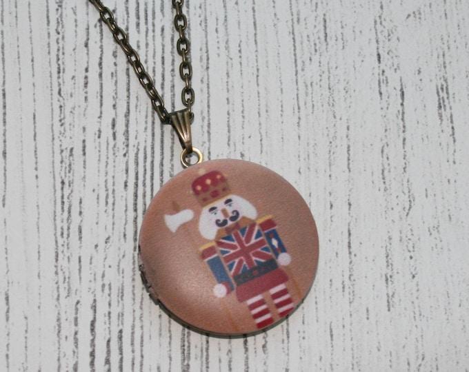 Nutcracker Locket Necklace, Christmas Necklace, Christmas Locket