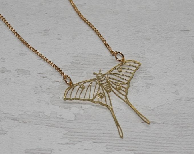 Gold Luna Moth Necklace