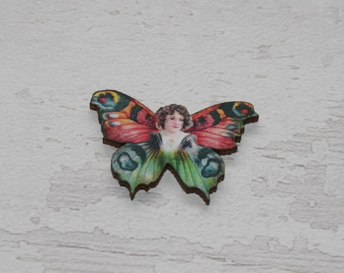 Pink Butterfly Fairy Brooch, Wood Accessory, Badge Illustration Jewelry, Animal Brooch, Woodland, Wood Jewelry