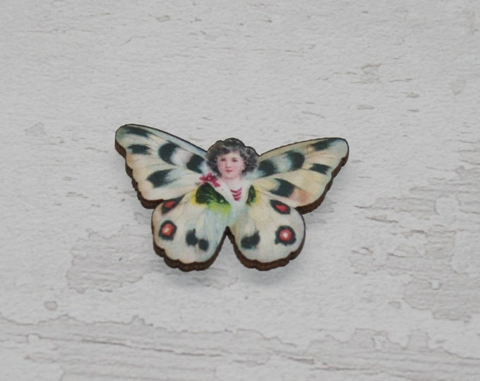 Blue Butterfly Fairy Brooch, Wood Accessory, Badge Illustration Jewelry, Animal Brooch, Woodland, Wood Jewelry