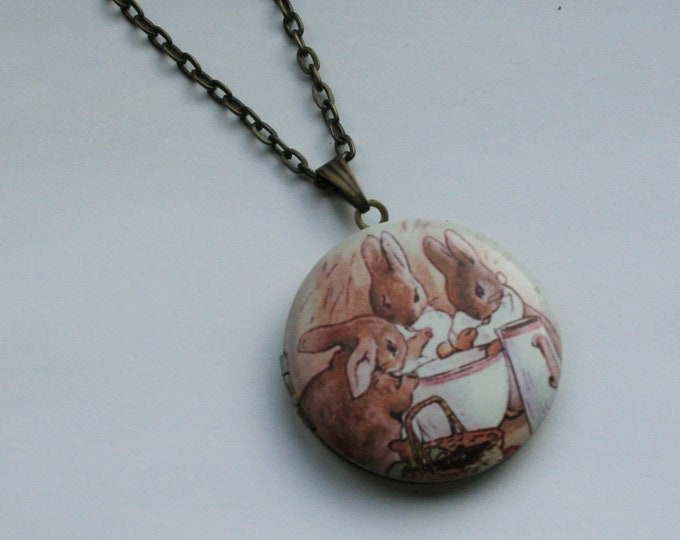 Rabbit Locket Necklace, Beatrix Potter Necklace, Animal Jewelry