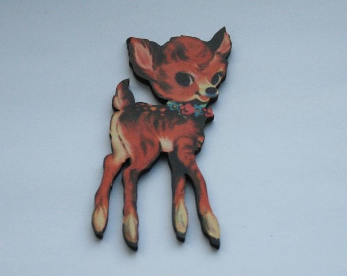 Fawn Brooch, Deer Badge, Woodland Illustration, Wood Jewelry, Animal Brooch