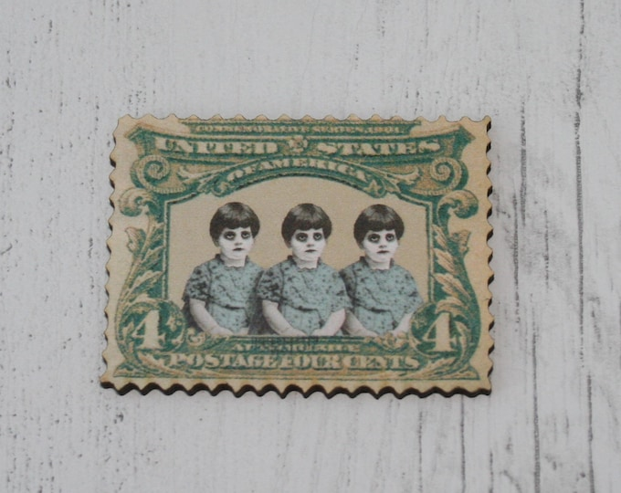 Wooden Postage Stamp Brooch / Badge / Pin