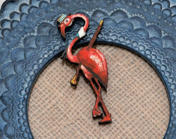 Flamingo Brooch, Wooden Flamingo Badge, Animal Brooch, Wood Jewelry, Bird Brooch