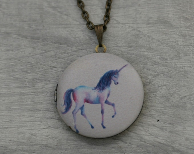 Unicorn Locket Necklace, Horse Necklace, Mythical Jewelry