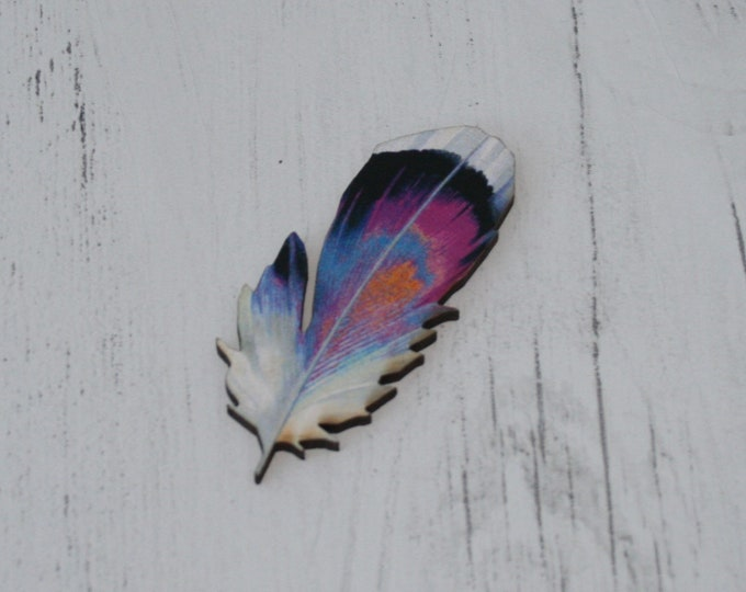 Feather Brooch, Feather Illustration, Wood Jewelry