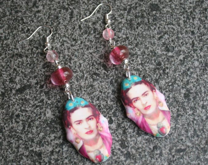 Pink Frida Statement Earrings