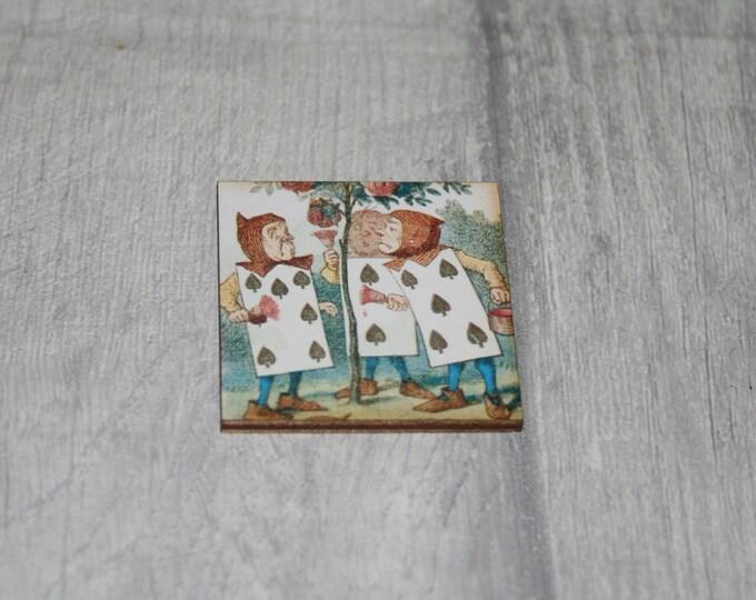 Alice in Wonderland Brooch, Painting the Roses Brooch, Tenniel Illustration