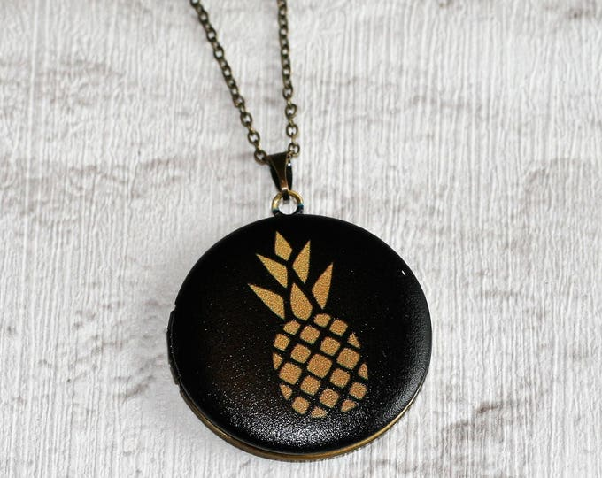 Pineapple Locket Necklace, Fruit Necklace, Food Jewelry