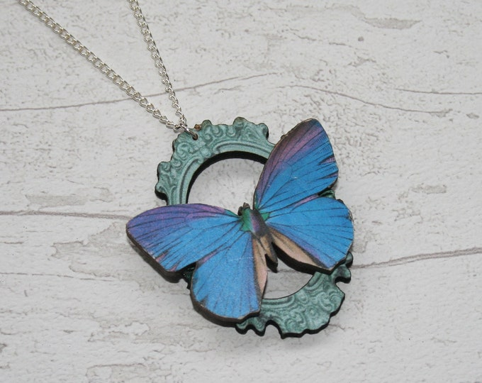 OOAK Blue Butterfly Necklace, Wooden Butterfly, Illustration Pendant, Animal Necklace, Wood Jewelry