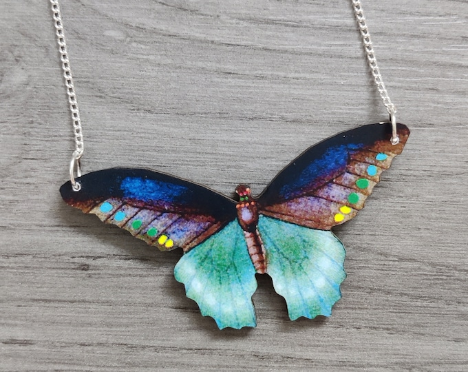 Vibrant Butterfly Necklace, Wooden Butterfly, Illustration Pendant, Animal Necklace, Wood Jewelry
