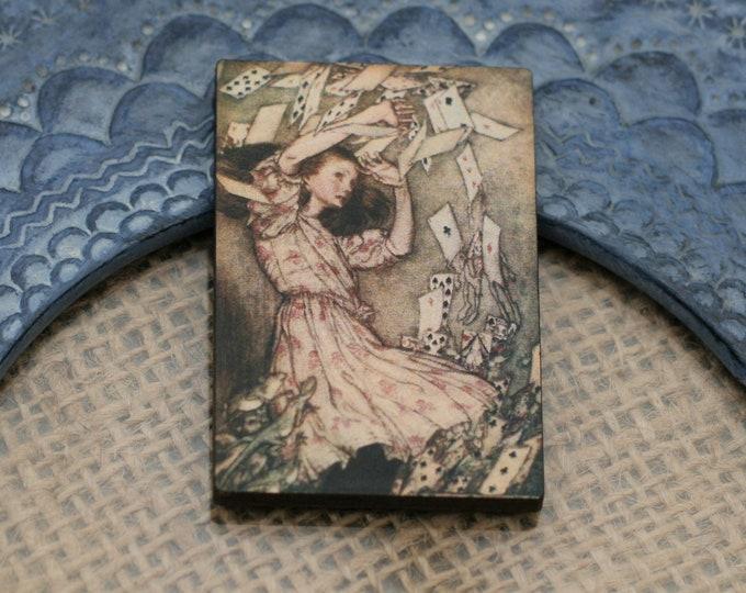 Alice in Wonderland Brooch, Flying Cards Brooch, Tenniel Illustration, Wood Jewelry