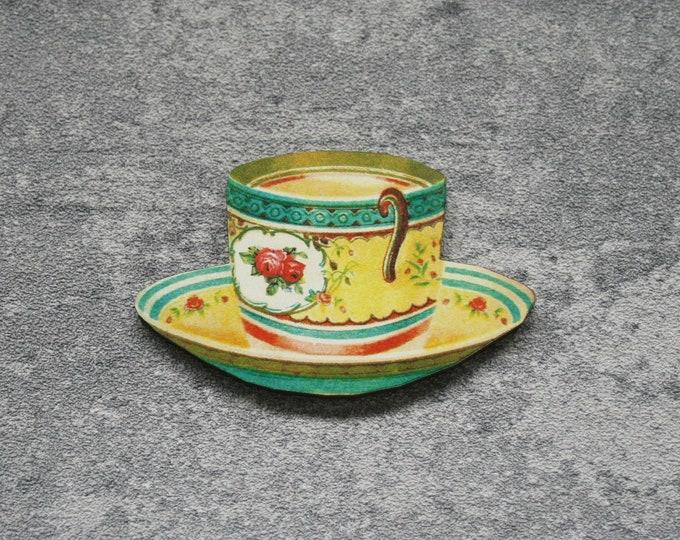 Yellow Teacup Brooch, Wooden Afternoon Tea Brooch, Teacup Badge, Wood Jewelry