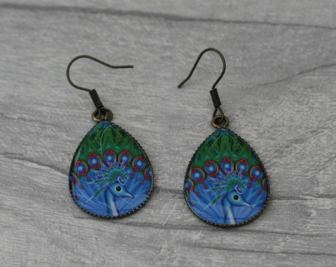 Blue and Green Peacock Earrings, Bird Jewelry, Animal Accessory