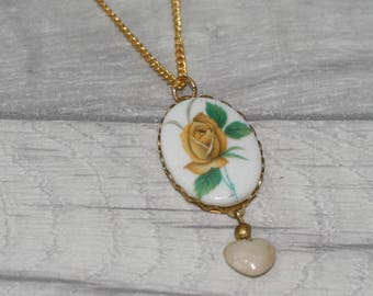Yellow Floral Cameo Necklace