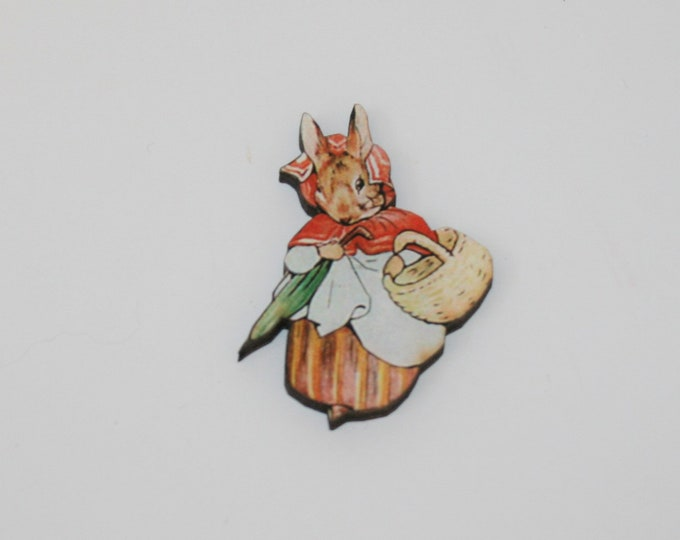 Mrs Rabbit Brooch, Beatrix Potter Illustration, Wood Jewelry, Animal Brooch, Woodland