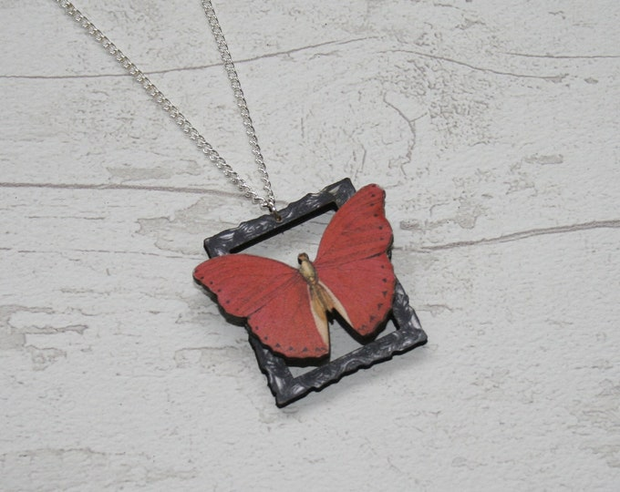 OOAK Red Butterfly Necklace, Wooden Butterfly, Illustration Pendant, Animal Necklace, Wood Jewelry