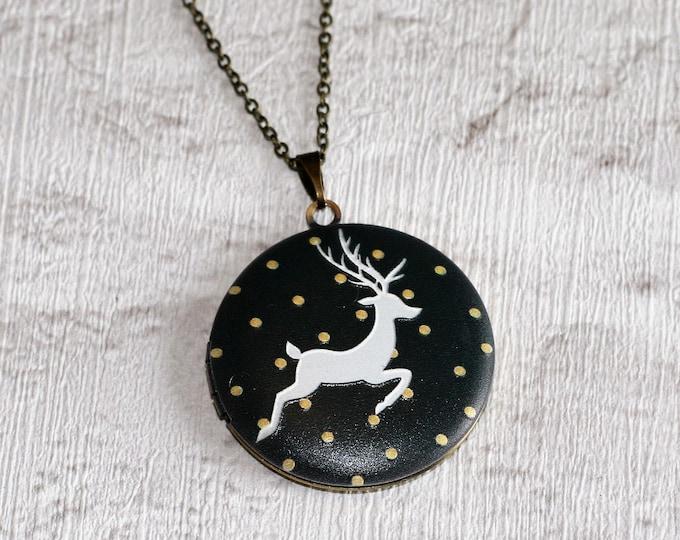 Deer Locket Necklace, Fawn Necklace, Woodland Jewelry, Animal Jewelry