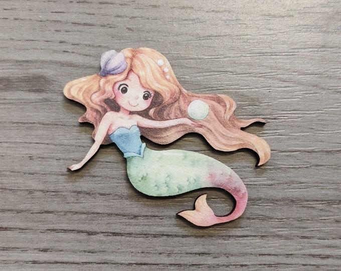 Mermaid Brooch, Wood Accessory, Mermaid Illustration, Wood Jewelry