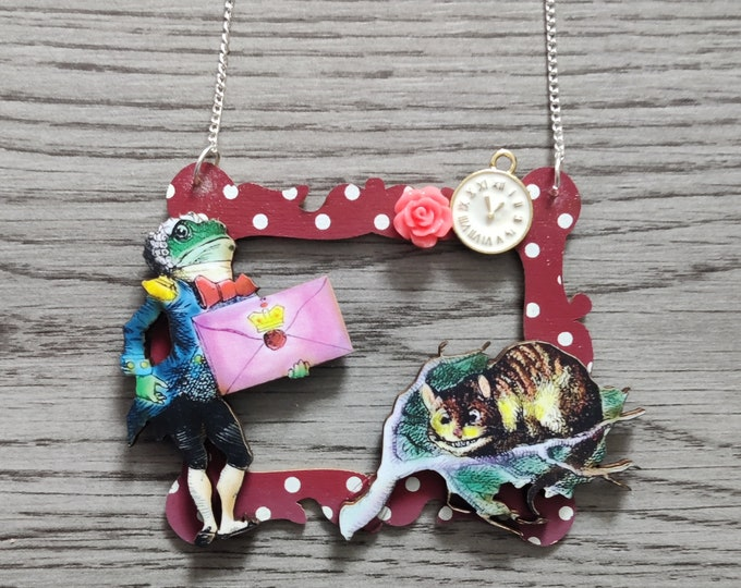 Alice in Wonderland Necklace, Frog Footman & Cheshire Cat Necklace, Tenniel Illustration, Statement Necklace, Altered Art, Mixed Media