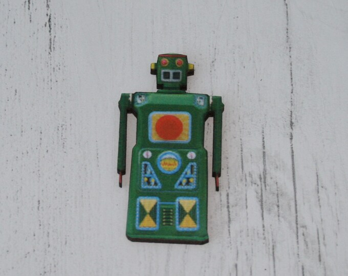 Robot Brooch, Wooden Robot Badge, Robot Illustration